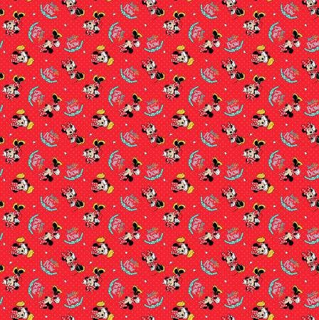 Disney Minnie Mouse Bow Cute Red Cotton Elastin Jersey Meter