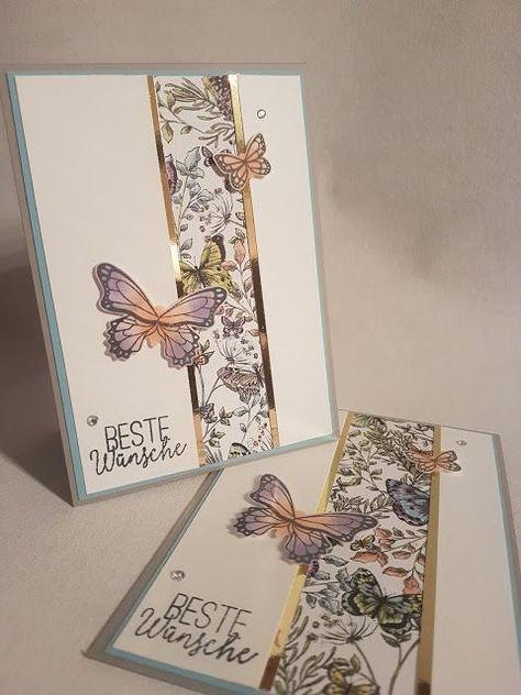 Karte - Schmetterlinge - Stoffpapier - Stoffpapier - Stampinup - Stampin & # 39; Oben! ... #karte #schmetterlinge #stampin #stampinup #stoffpapier