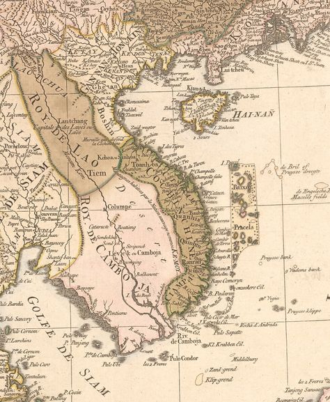 Mapa de Indochina en el s. XVIII. En él se puede apreciar el actual Vietnam dividido en Tonkin (al Norte) y la Cochinchina (al Sur).