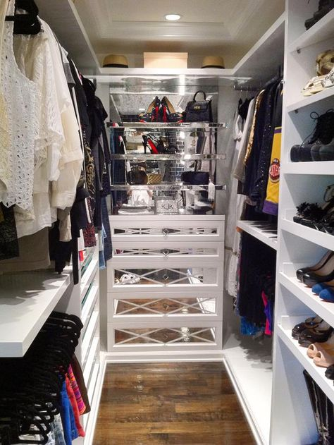 """Kylie, the younger Jenner sibling, also got a closet revamp from Hollywood closet guru Lisa Adams. Lisa's closet mantra is """"a place for everything and everything in its place."""" With wardrobes of the scope found among the Jenners and Kardashians, that sometimes required some thinning"""