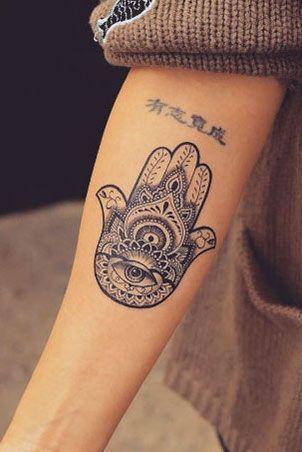 Tattoo männer hand fatima Outlining