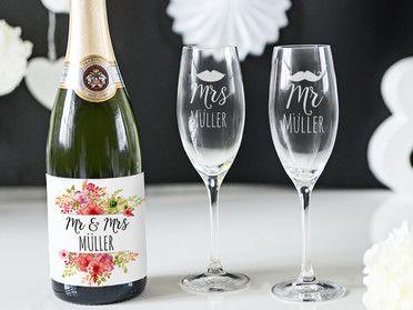 Sektetiketten Geschenkideen Hochzeit Sektglaser Hochzeit Personalisierte Hochzeitsgeschenke