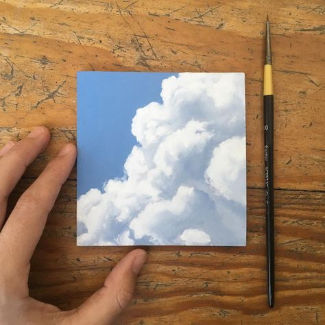 ☁️☁️☁️ 1 of 6 little clouds finished! Though, I may come back and touch it up later. #painting #oilpainting #clouds #skyscape #sky #cloudstagram #minipainting #instaart #instaartist #artistsoninstagram
