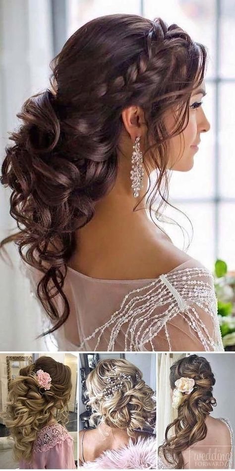 The 60 Prettiest Bridal Hairstyles From Real Weddings : long bridal hair pin up hairstyles for weddings wedding hair for long hair wedding bride hair beautiful wedding hairstyles bridesmaid hair and makeup best bridal hairstyles Wedding Hairstyles Half Up Half Down, Wedding Hairstyles For Long Hair, Wedding Hair And Makeup, Bridal Hairstyle Indian Wedding, Indian Bridal, Hair Makeup, Hairstyles For Dresses, Bridal Hair Half Up Medium, Half Up Half Down Wedding Hair