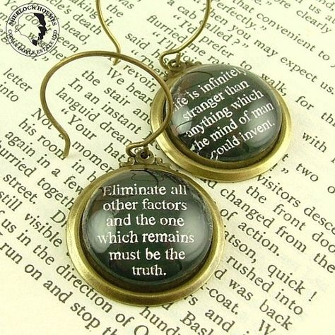 Sherlock Holmes - Life Is Infinitely Stranger Earrings - Literary Book Quote Jewelry