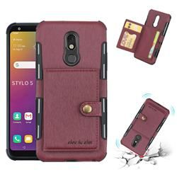 Brush Multi Function Leather Phone Case For Lg Stylo 5 Wine Red Lg Stylo 5 Cases Guuds Leather Phone Case Phone Cases Phone