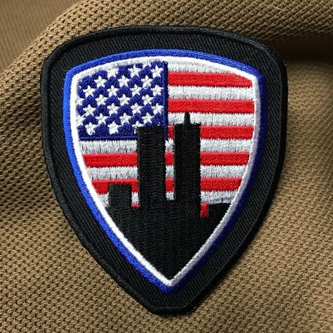 The OD green 911 Remember Patch Hook//loop Morale Military Twin Towers