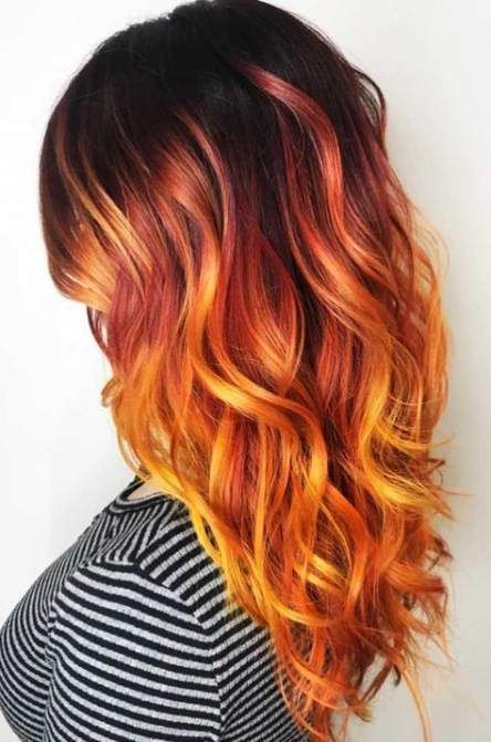 Hair Color Orange Black 19 Ideas Orange Ombre Hair Hair Color Orange Hair Color For Black Hair
