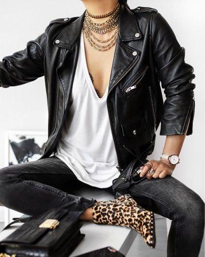 Leather Biker Jacket in Black curated on LTK
