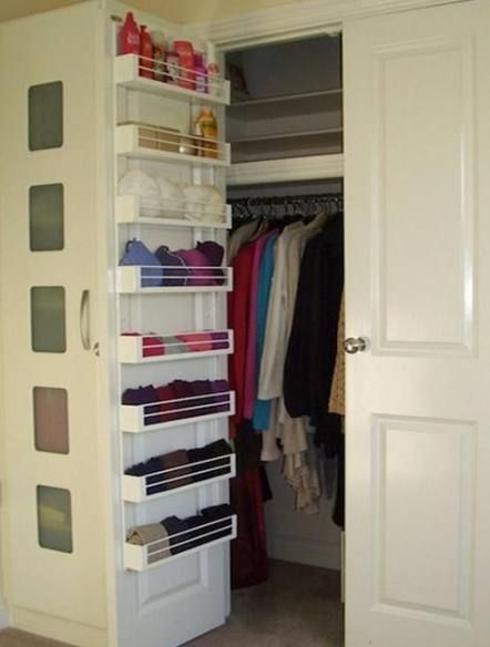 Trendy Small Sliding Door Closet Organization Shelves Ideas Closet Door Ideas Organization In 2020 Clever Closet Storage Solutions Bedroom Closet Hacks Organizing