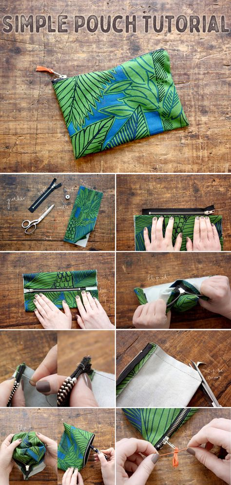 Simple Zipper Pouch Tutorial -- How to Sew a Zipper Pouch - Easy Beginner Sewing Project