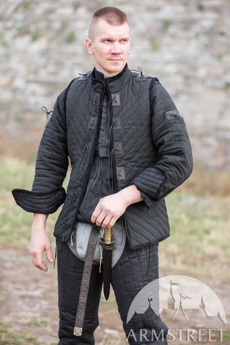 The Kingmaker canvas gambeson for sale. Available in: light canvas , black canvas, black flax linen, natural flax linen :: by medieval store ArmStreet