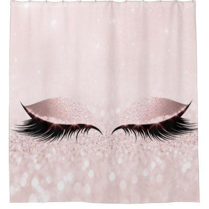 Glitter Sparkly Makeup Princess Pink Rose Eye Lash Shower Curtain