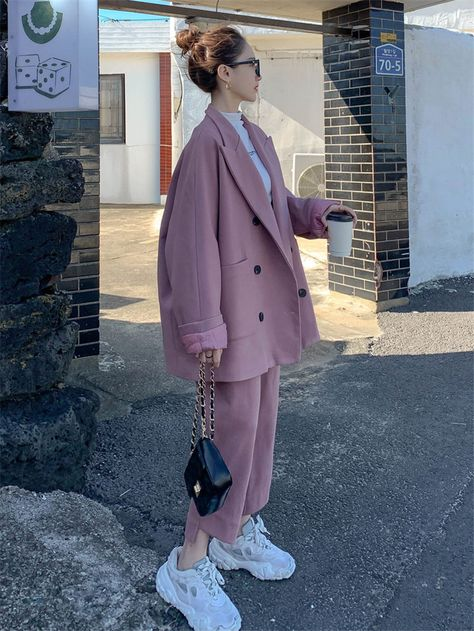 128.0US $ |Fashion Woolen Suit Women's 2020 Autumn and Winter New Korean Style Loose Large Size Blazer Overcoat & Pants Two Piece Set y472|Pant Suits|   - AliExpress