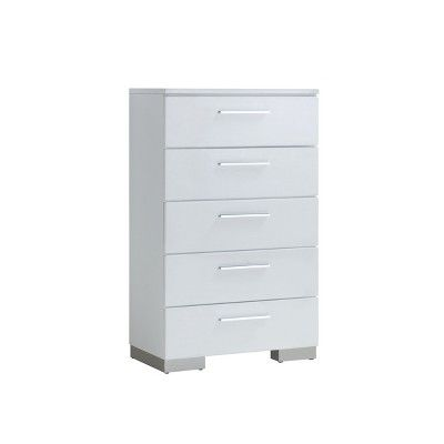 Mack 5 Drawer Chest Glossy White Mibasics Furniture Of America Modern Chests 5 Drawer Chest