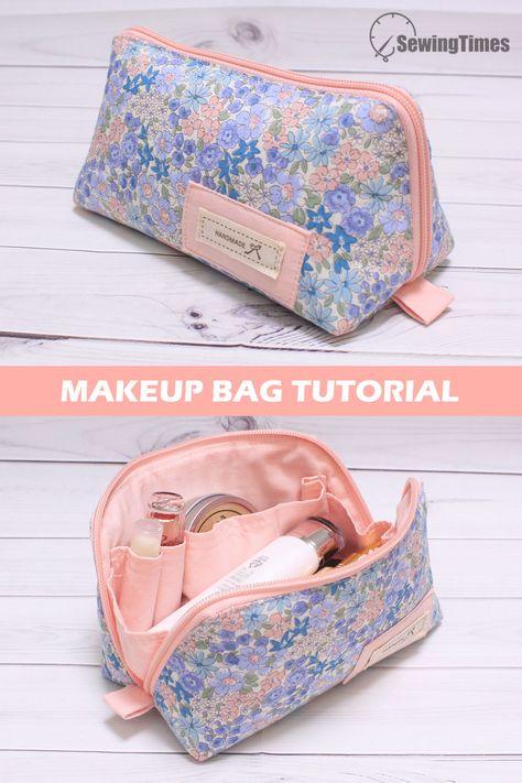 Sewing Makeup Bag, Makeup Bag Pattern, Makeup Pouch, Purse Pattern Sewing, Pouch Pattern, Makeup Bag Tutorials, Diy Makeup Bag Tutorial, Cosmetic Bag Tutorial, Diy Bags Purses
