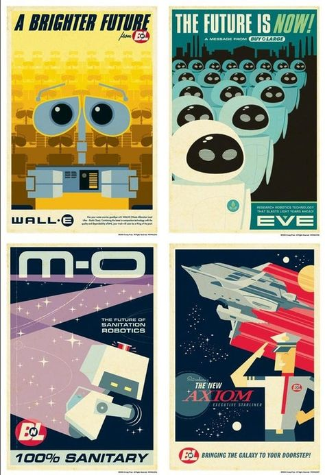 Pixar's Wall-E had some great retrofuturistic style posters for its promotional content