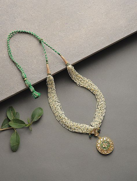 Buy Green White Golden Pearl and Emerald Beaded Polki Gold Necklace Precious Jew.