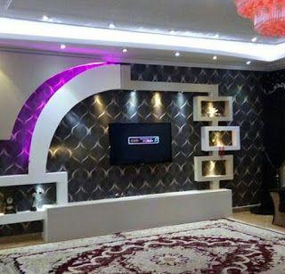 ديكور جبس للشاشه جبس بورد ديكورات جبس جبس ديكورات شاشات بلازما على الحائط House Ceiling Design Pooja Room Door Design Room Door Design