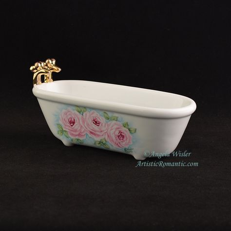 Beautiful Victorian Clawfoot Bathtub Soapdish Pink Roses Hand Painted Porcelain Artistic Romantic 1 Awesome - Inspirational porcelain bathtub Luxury