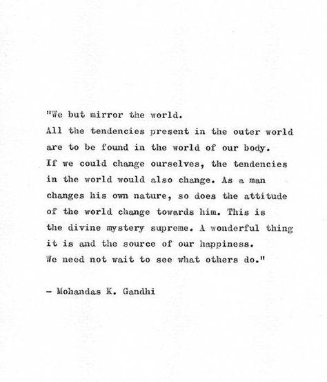 Gandhi Typewriter Quote 'Mirror The World', Hand Typed Minimalist Gift, Spiritual Quote Print