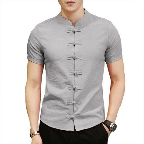 Retro Mens Basic Long Sleeve Chinese Style Knot Button Kungfu Tops Casual Shirts