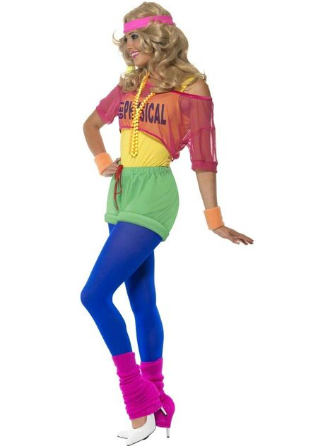 Buy Ladies Neon Aerobic Lets Get Physical Fancy Dress Costume Outfit at online store