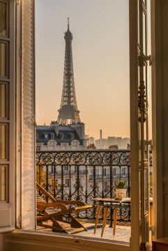 Beautiful Paris Balcony At Sunset With Eiffel Tower View Wall Mural, Premium Canvas Wall Murals for Residential and Commercial Use, from Limitless Walls. Standard self adhesive peel and stick fabric wall art, custom sizing is available. Variety of easy install fabrics and finishes to choose from. Personalize any space with beautiful abstracts, photography, and more. Samples available upon request and free shipping to the US and Canada, plus a risk free return policy. Oh The Places You'll Go, Places To Travel, Places To Visit, Vacation Places, Vacation Spots, Beautiful Paris, Beautiful Hotels, Hotels With Balconies, Paris Balcony