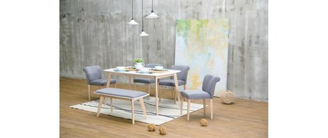 Table A Manger Design Blanc Et Bois Clair L120 Cm Leena Table A