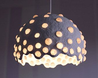 Paper Mache Pendant Light Recycled Paper Lampshade Eco Friendly Paper Pulp Lamp Ceiling Lamp Hanging Lamp Paper Lampshade Pendant Light Pendant Light Set