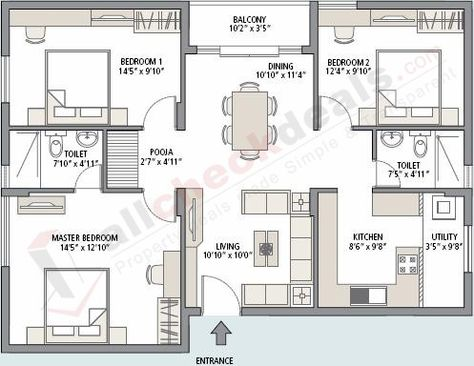 3 Bhk Residential Flat Floor Plan Apartment Floor Plans Bungalow Floor Plans Model House Plan