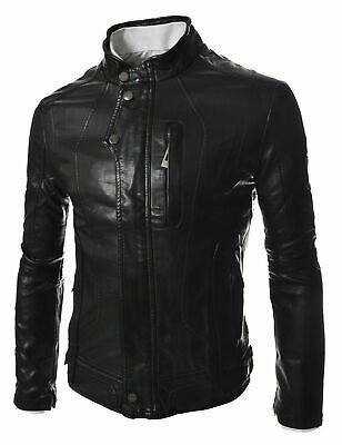 NZSH Mens Leather jacket Genuine Hight Quality Lambskin Biker Coat Slim fit