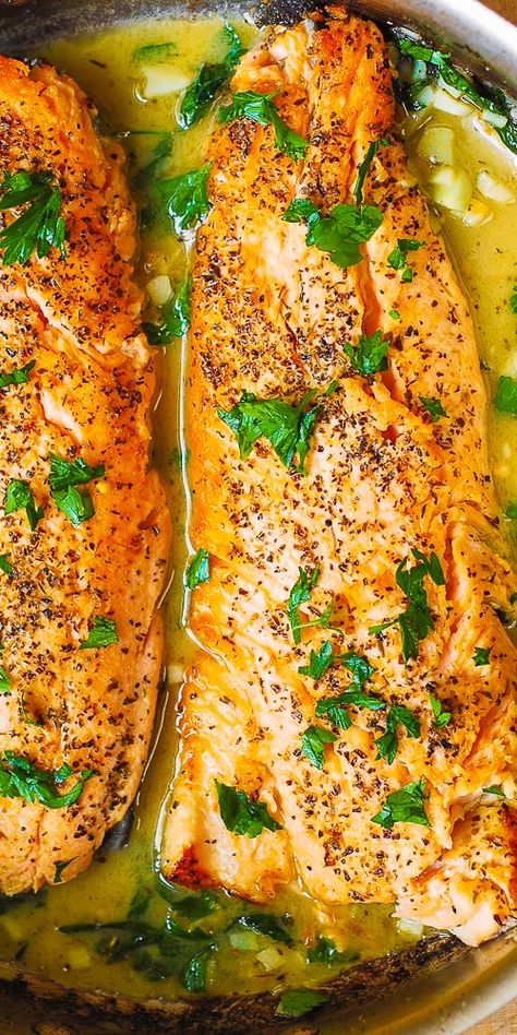 fish recipes Trout with Butter Garlic Lemon Herb Sauce Sea Trout Recipes, Salmon Recipes, Grilled Trout Recipes, Steel Head Trout Recipes, Whole Trout Recipes, Rainbow Trout Recipes, Basa Fish Recipes, Lemon Fish, Lemon Herb