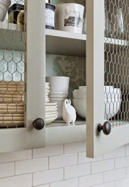 64 Trendy Ideas Glass Door Cabinet Kitchen Chicken Wire Cheap Kitchen Cabinets Diy Kitchen Chicken Wire Cabinets