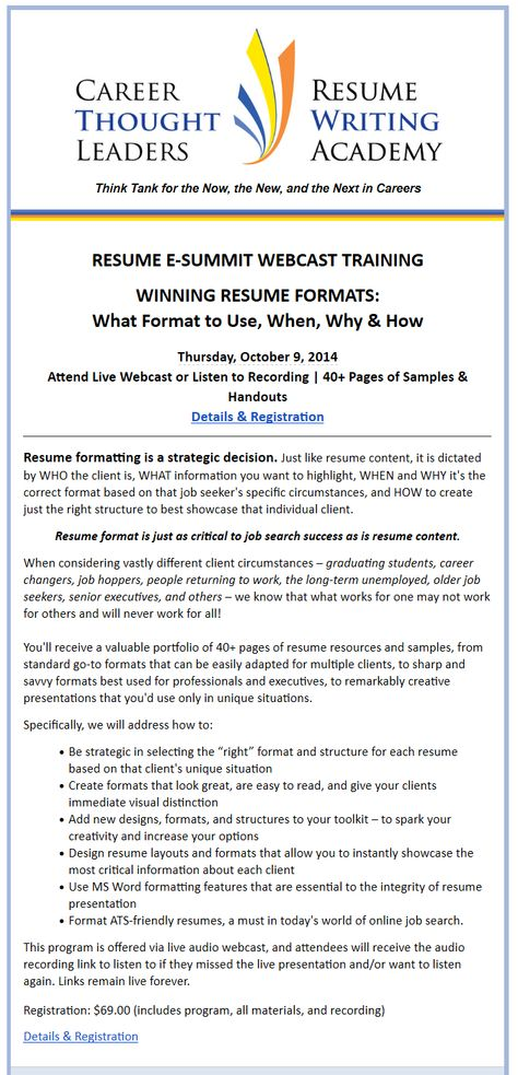 Wendy enelow resume writing academy Certification Programs