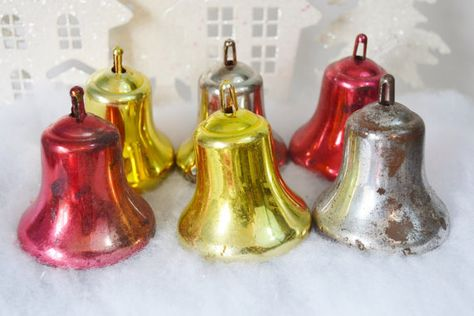 Large Plastic Bells decorations Christmas gold and red with bows