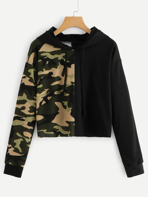 Product name: Contrast Camo Print Hoodie at SHEIN, Category: Sweatshirts