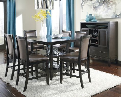 Trishelle 7pc Rectangular Counter Height Dining Table Set Table