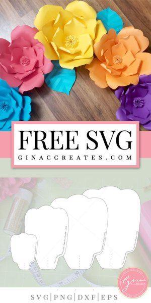 Free Paper Flower Template Cricut Paper Crafts Free Paper Flower