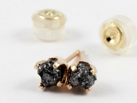April Birthstone Gold Post Ear Studs 4.0mm 14K Yellow Gold Stud Earrings with Black Diamonds Rough Uncut Diamonds