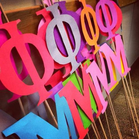 Bid Day mini letters on a stick for new members!