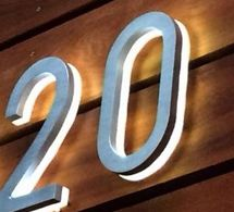 Modern 5 Outdoor Led House Number In Brushed Aluminum Luxello