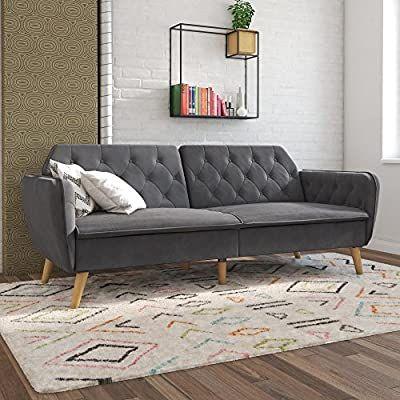 Amazon Com Novogratz Tallulah Memory Foam Futon Gray Velvet Kitchen Dining In 2020 Futon Living Room Best Sofa Furniture