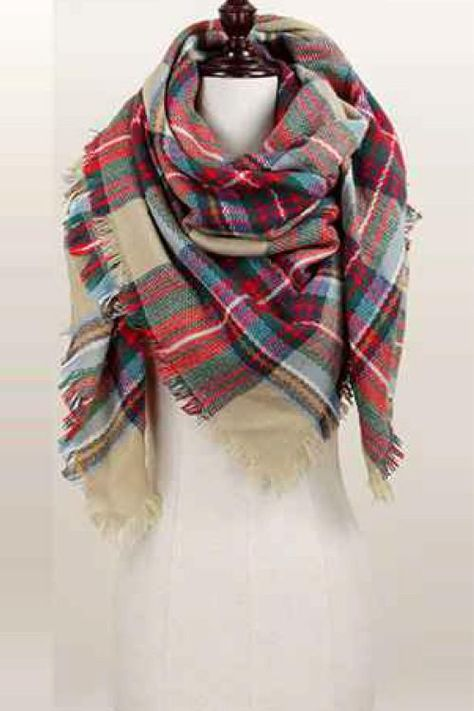 Oversized Plaid Blanket Scarf (Red/Green/Tan)