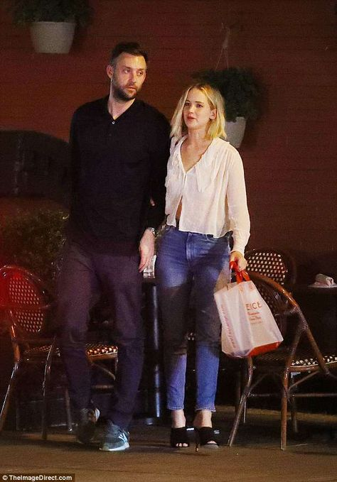 Date night: Jennifer Lawrence, 27, enjoyed a romantic night out with her new boyfriend Cooke Maroney in New York on Thursday evening