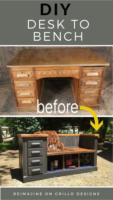 Jill and Ron from Reimajine share how they created this DIY desk to bench conversion from reclaimed wood and other materials! The end result is so stunning! Reclaimed Furniture, Old Furniture, Refurbished Furniture, Repurposed Furniture, Furniture Projects, Furniture Design, Furniture Showroom, Furniture Stores, Industrial Furniture