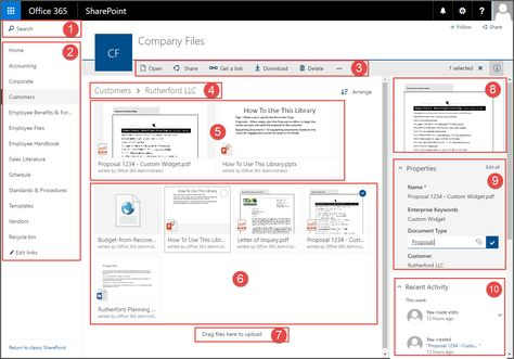 The modern SharePoint Online document library has a lot of great new features including search, preview images, and a properties pane.