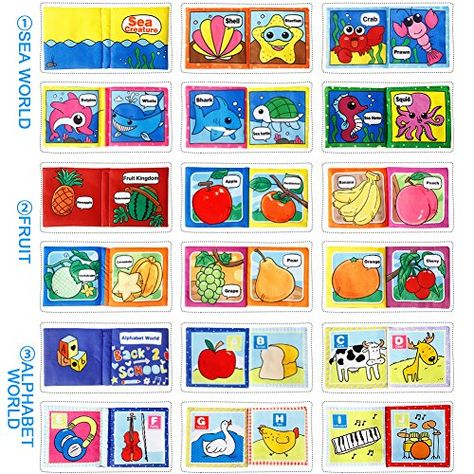 Sque Colorful Fabric FunsLane Baby Soft Cloth Books Baby First Book Non-Toxic