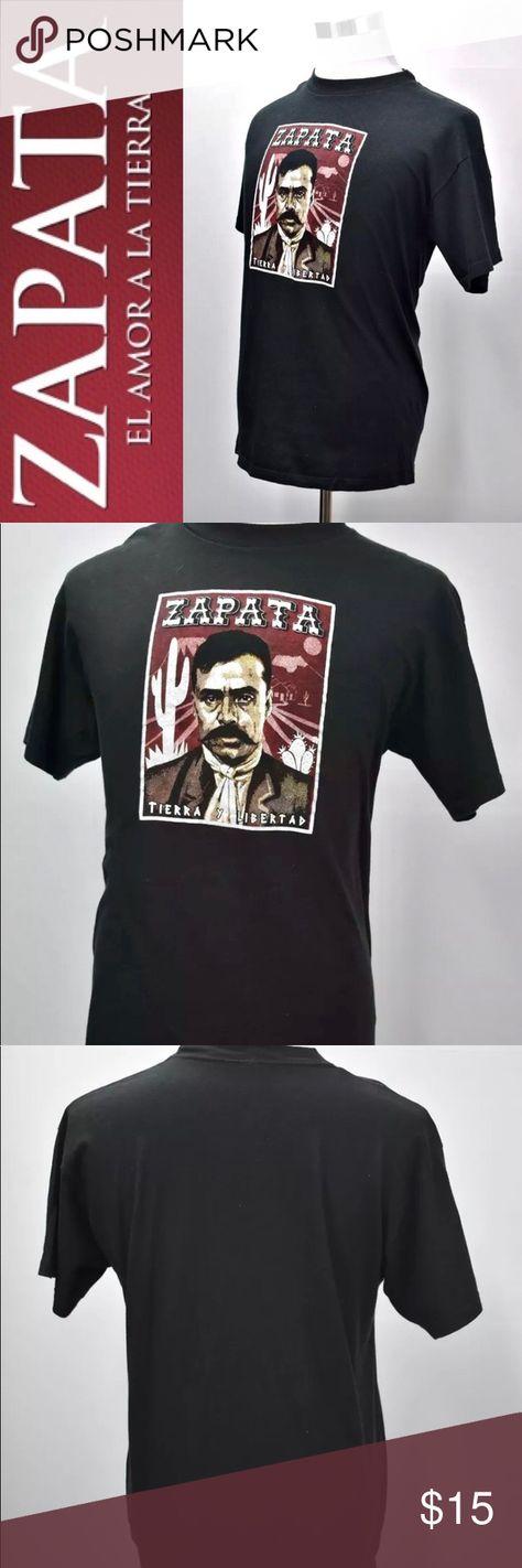 Zapata M&O Print Graphic T Shirt Solid Black Zapata M&O Print Graphic T Shirt Solid Black Size L Short Sleeves 100% Cotton m&o Shirts Tees - Short Sleeve