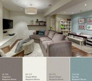 Mooie rustige kleuren voor in de woonkamer. Tref: blauw, bruin ...